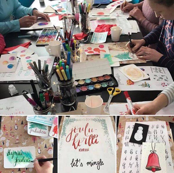 joulukortti-handlettering-kurssin-materiaaleja-ja-fiiliksia